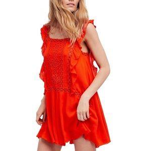 Coral Priscilla Fp One Crochet Trim Casual Dress